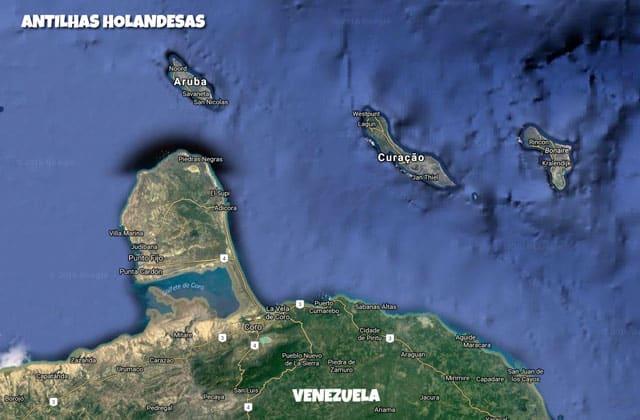 Curaçao - Mapa das Antilhas Holandesas. Aruba e Curaçao agora são países independentes da Holanda
