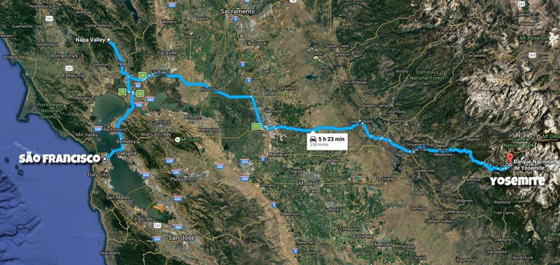 Mapa Road Trip California - São Francisco até Yosemite, passando pelo Napa Valley