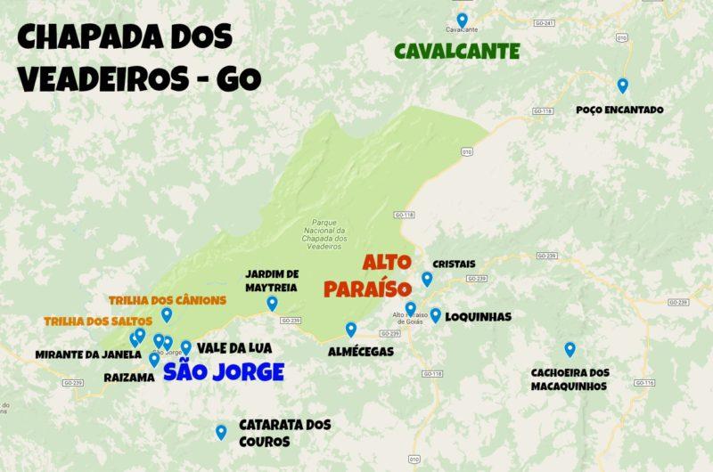 Mapa Chapada dos Veadeiros: Principais Atrativos e Pontos Turísticos