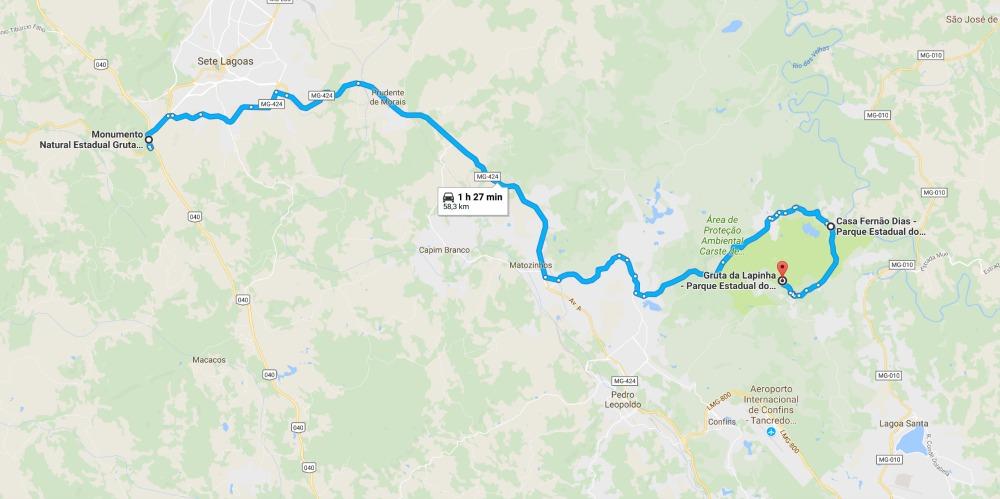 Mapa Rota das Grutas Minas Gerais - Roteiro de 3 Dias em Belo Horizonte