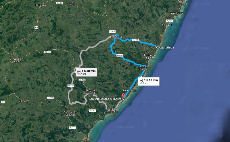 Alagoas: Dicas e Roteiro de 7 a 10 Dias: Mapa Japaratinga e Maragogi