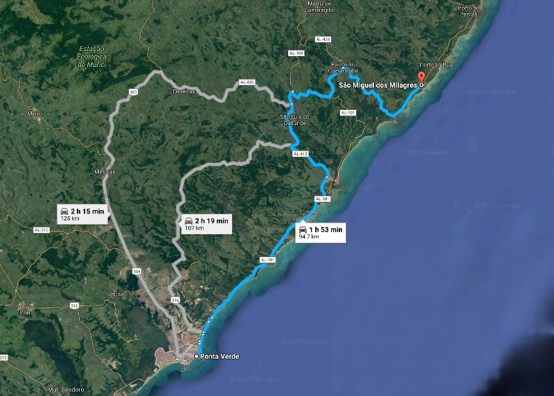 Alagoas: Dicas e Roteiro de 7 a 10 Dia: Mapa Maceió até São Miguel dos Milagres
