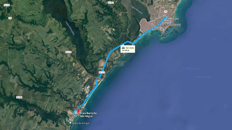 Mapa: Como Chegar em Barra de São Miguel e Praia do Gunga