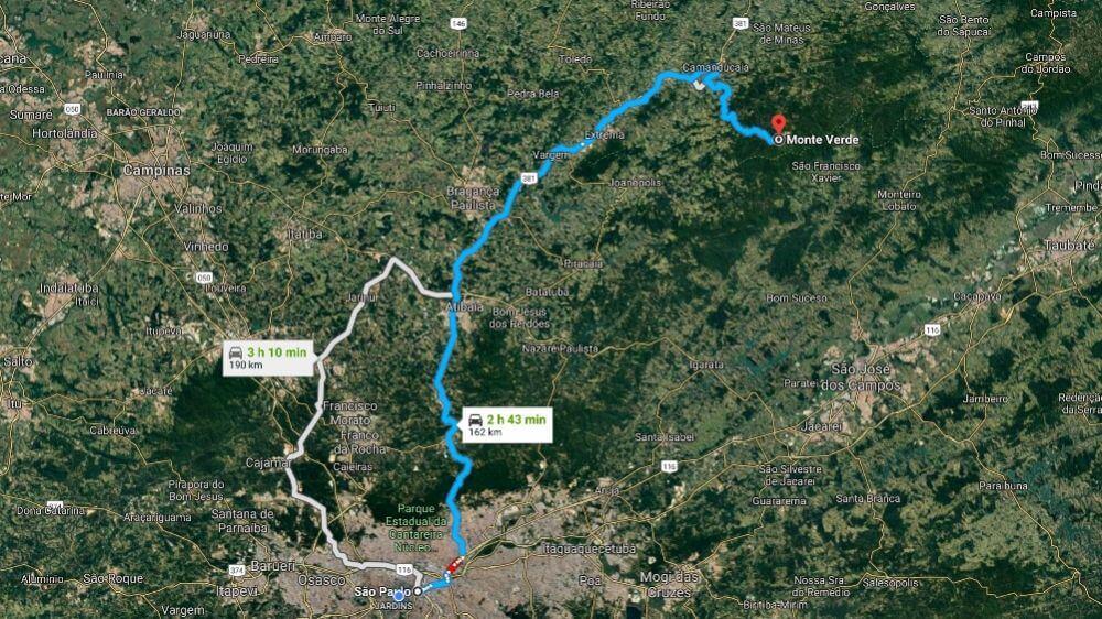 Mapa: Como Chegar em Monte Verde MG